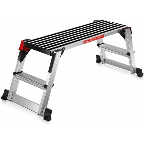 Plataforma de Trabajo Multiusos de Aluminio Carga hasta 150KG Escalera Plegable para Hogar Oficina Taller