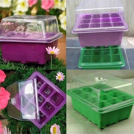 Plateau a semis Sprout plaque Nursery Pots Plateau pour Couvercles Boite de jardinage Bonsai 9 Cavity avec Dome et Base, Vert