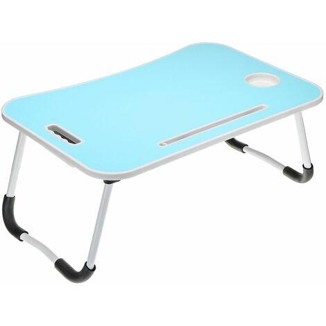 Plateau de lit Bureau d'ordinateur pliant avec 5 couleurs avec fente pour carte + porte-gobelet + tiroir (bleu)