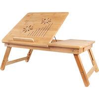 Plateau de Lit Pliable, Table pour Ordinateur Portable, Bureau ajustable avec grande ventilation, Matériau: Bambou