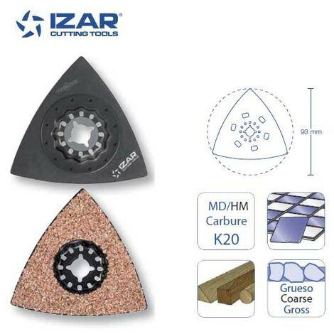 plateau de ponçage triangulaire concrétion carbure Starlock Izar 93 mm