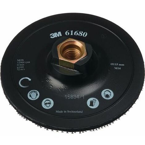 Plateau pour disques abrasifs auto-agrippants, avec centrage, trou intérieur de 22,23 mm, 3M, Ø : 115 mm, Bride filetée M14
