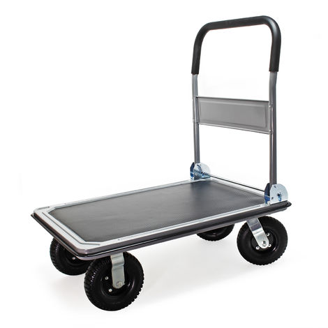 Platform Trolley for max. 300kg with Pneumatic Tyres, foldable Handle & Non-Slide Surface