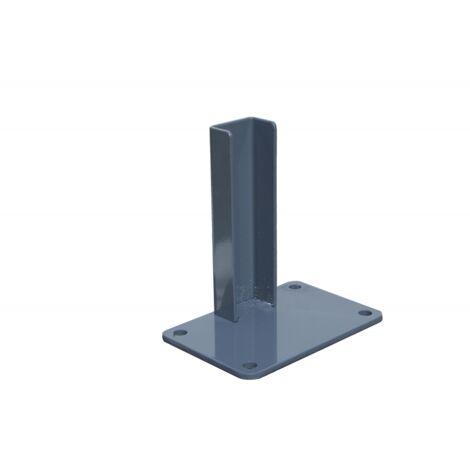 Platine acier pour poteau de départ ou fin de clôture - Coloris - Gris anthracite RAL 7015, Largeur - 10 cm, Longueur - 15 cm