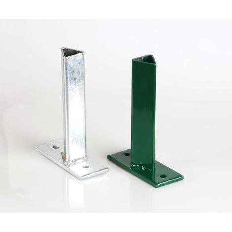 Platine de fixation verte T 35, pour fixer les poteaux T35 sur muret - Vert RAL 6005