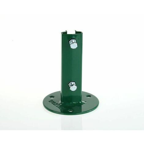 Platine de fixation verte T 35 Vortek, pour fixer les poteaux à T sur muret avec classe