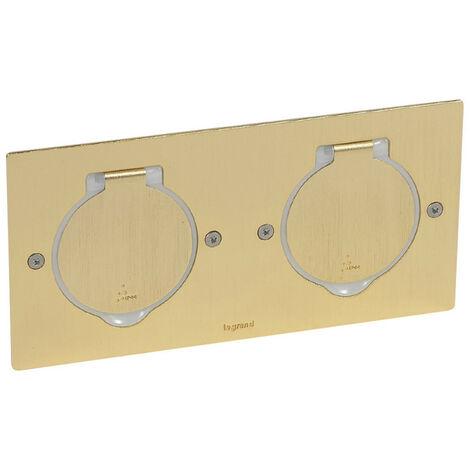 Platine de sol rectangulaire à équiper de mécanismes Mosaic 2 postes doré brossé (089712)