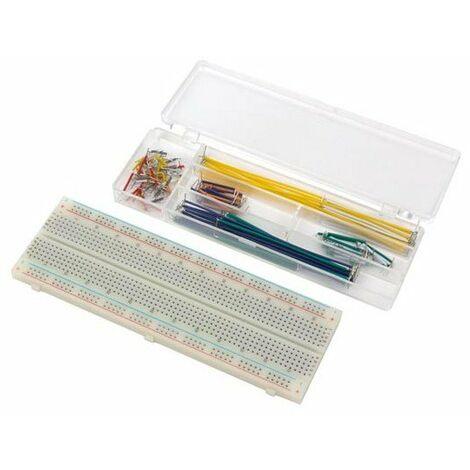 Platine d'experimentation sans soudure - 830 points de connexion + fils de raccordement - 140 pcs