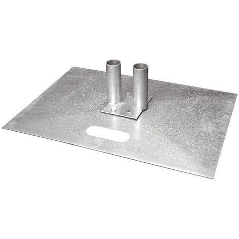 Platine en acier galvanisé - pour clôture mobile - longueur x largeur 700 x 500 mm