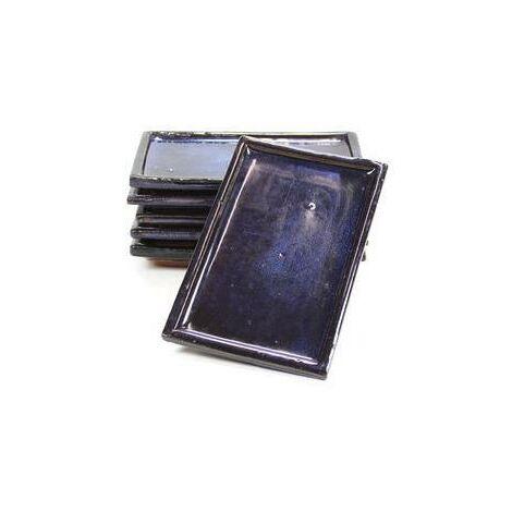 Plato cerámico rectangular cantos rectos Azul 15 cm