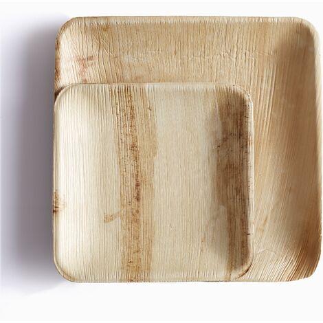 Plato cuadrado de hoja de palma Packawin 25 unidades 15 cm
