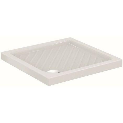Plato de ducha 75x75 cm de cerámica blanco brillante serie Atlanta | Blanco
