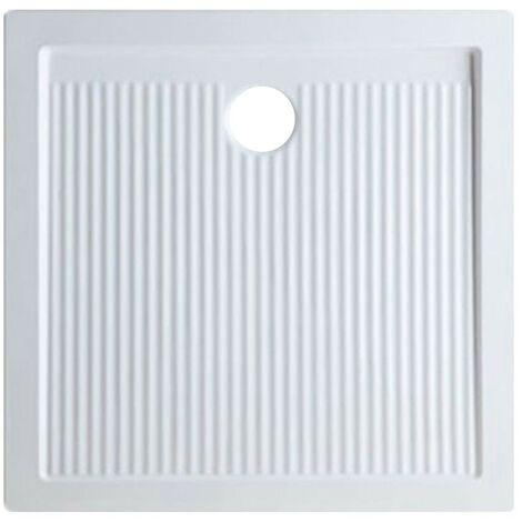 Plato de ducha 80x80 cm en cerámica serie Ariston   Blanco