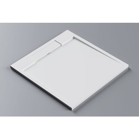 Plato de ducha cuadrado PB3086 de piedra sólida (Solid Stone) - blanco mate - 100x100x3,5 cm