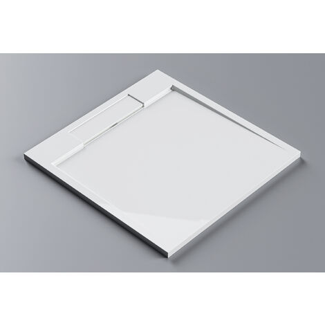 Plato de ducha cuadrado PB3086G de piedra sólida (Solid Stone) - blanco brillante - 100x100x3,5 cm