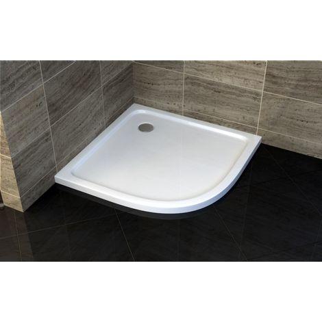 Plato de ducha cuarto de círculo - 90 x 90 cm y sistema de desagüe