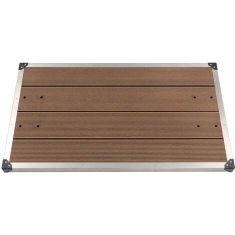 Plato de ducha de jardín WPC acero inoxidable marrón 110x62 cm