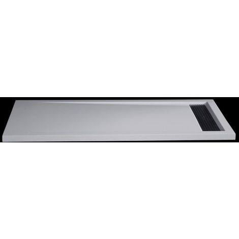 Plato de ducha de piedra maciza (Solid Stone) 1680BW rectangular, 160 x 80 x 4,5 cm - blanco brillante