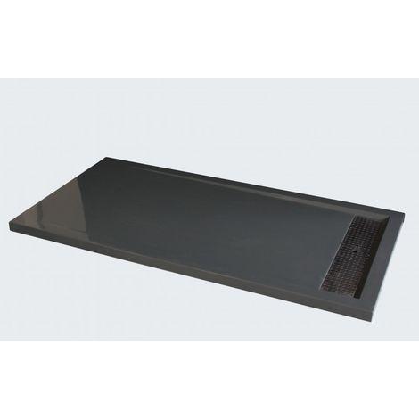 Plato de ducha de piedra maciza (Solid Surface) 1680BG gris brillante 160 x 80 x 4,5 cm