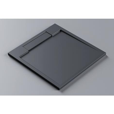 Plato de ducha de piedra sólida (Solid Surface) PB3087MG - gris mate - 90 x 90 x 3,5 cm
