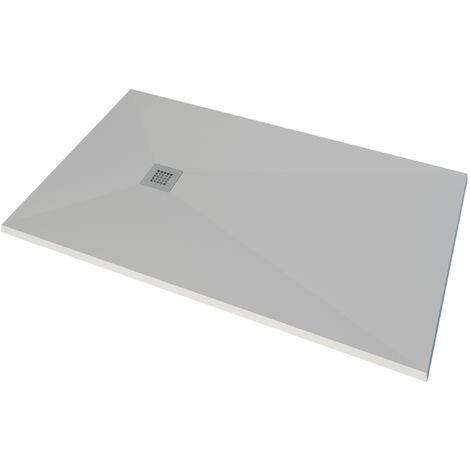 Plato de ducha de resina blanco y Sistema de ducha con monomando