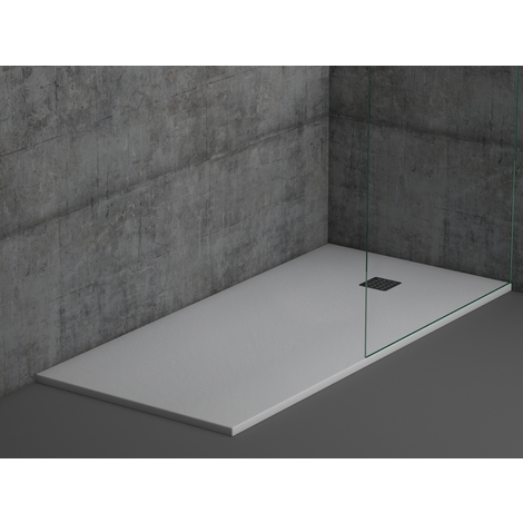 Plato de ducha de resina Color Blanco textura pizarra natural extraplano de 2,5 ctms de espesor