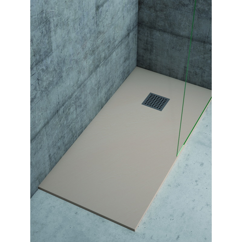 Plato de ducha de resina color crema textura pizarra - Suelo ducha pizarra ...