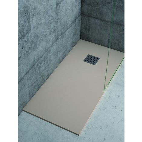 Plato de ducha de resina Color Crema textura pizarra natural extraplano de 2,5 ctms de espesor