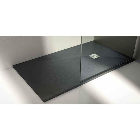 Plato de ducha de resina Color Grafito textura pizarra natural extraplano de 2,5 ctms de espesor 70 x 90 cm.