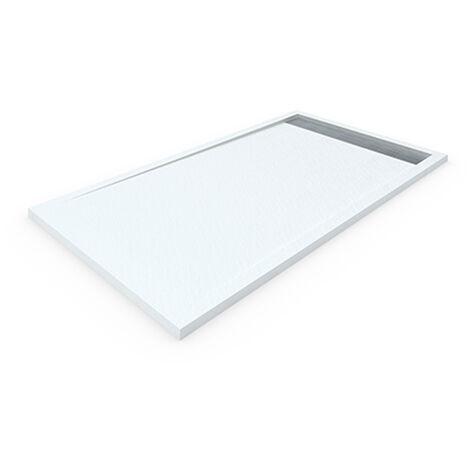 Plato de ducha de resina DELUXE con marco 80x100 cm Blanco