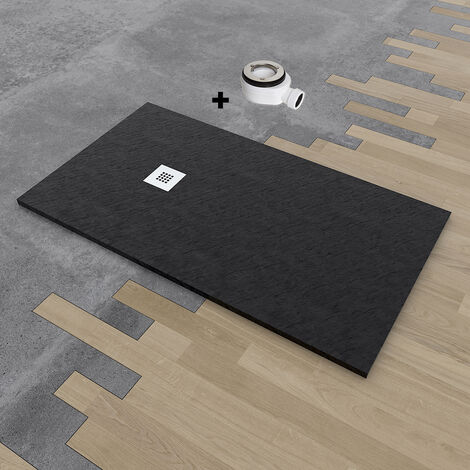 Plato de ducha de resina DELUXE extraplano 100x130 cm Negro