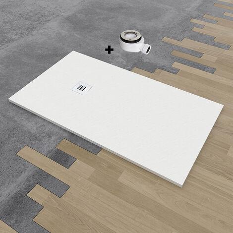 Plato de ducha de resina DELUXE extraplano 75x100 cm Blanco