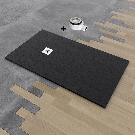 Plato de ducha de resina DELUXE extraplano 75x100 cm Negro