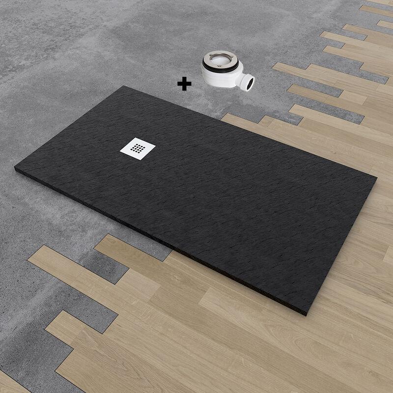 Plato de ducha de resina DELUXE extraplano 100x160 cm Negro