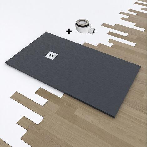 Plato de ducha de resina DELUXE extraplano 90x160 cm Gris Oscuro