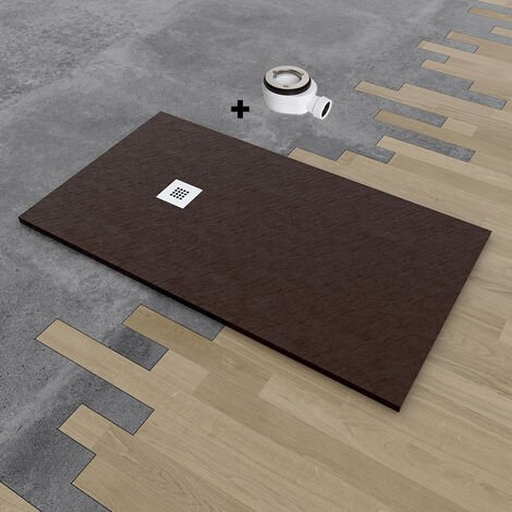 Plato de ducha de resina DELUXE extraplano 90x160 cm Marrón