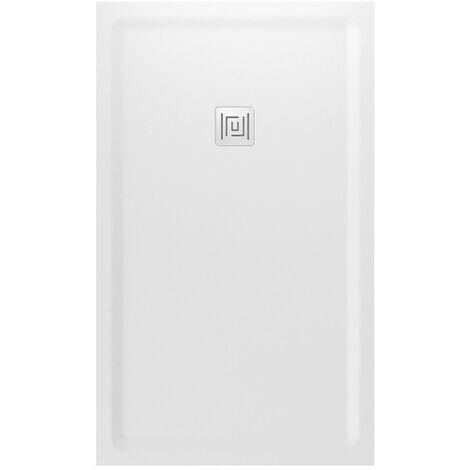 Plato de ducha Hidden carga mineral textura pizarra y enmarcado oculto Blanco