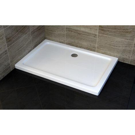 Plato de ducha rectangular - 100 x 80 cm - con sistema de desagüe