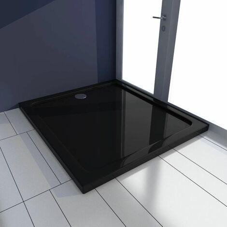 Plato de ducha rectangular de ABS, color negro, 80 x 90 cm