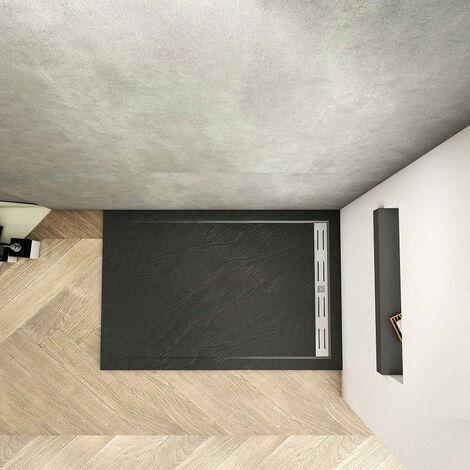 Plato de Ducha Rectangular extraplano RESINA PIZARRA GEL COAT NEGRO, Válvula incluida, Antideslizante 90x120cm