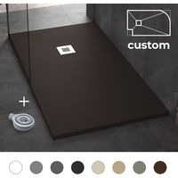 Plato de Ducha Resina Antideslizante Stone - Medidas Personalizadas - Liso y Extraplano - Incluye Sifón y Rejilla