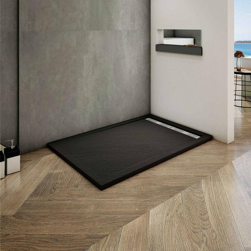 Plato de ducha de resina-antideslizante-textura pizarra-negro-ral7021 80x80