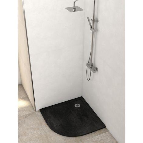Plato de ducha resina semicircular gris cemento