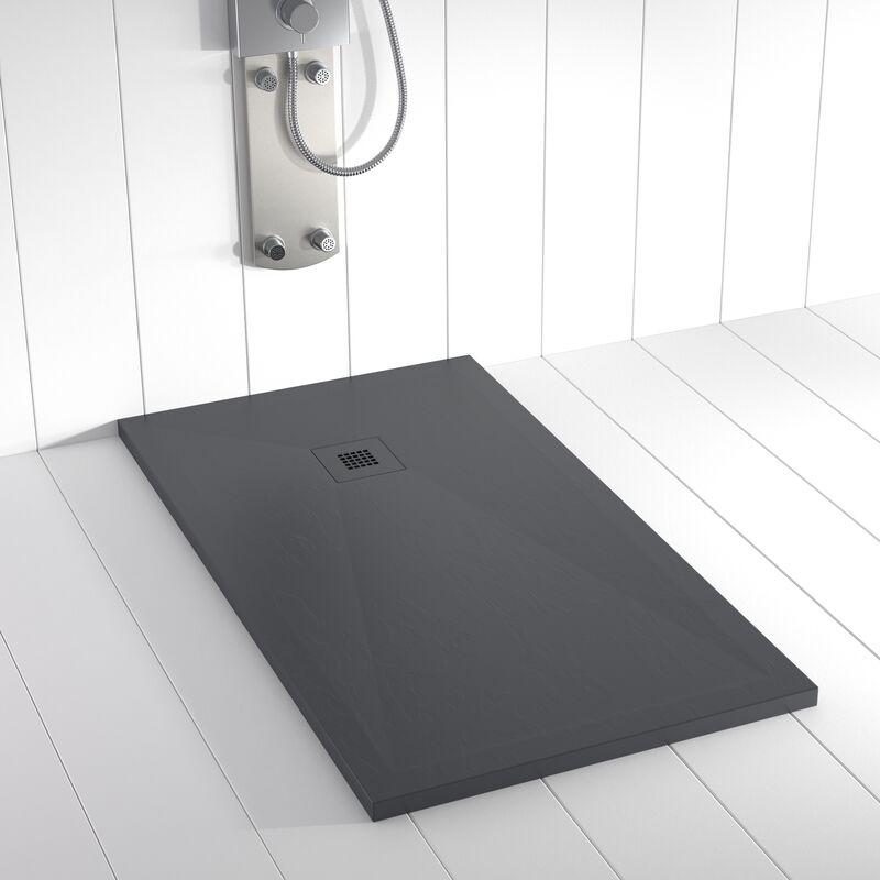 Plato de ducha Resina Stone PLES Antracita Ral 7011 rejilla en color - 70x80 cm