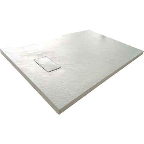 Plato de ducha SMC en fibra de vidrio, efecto piedra con valvula incluida H. 2.6 cm