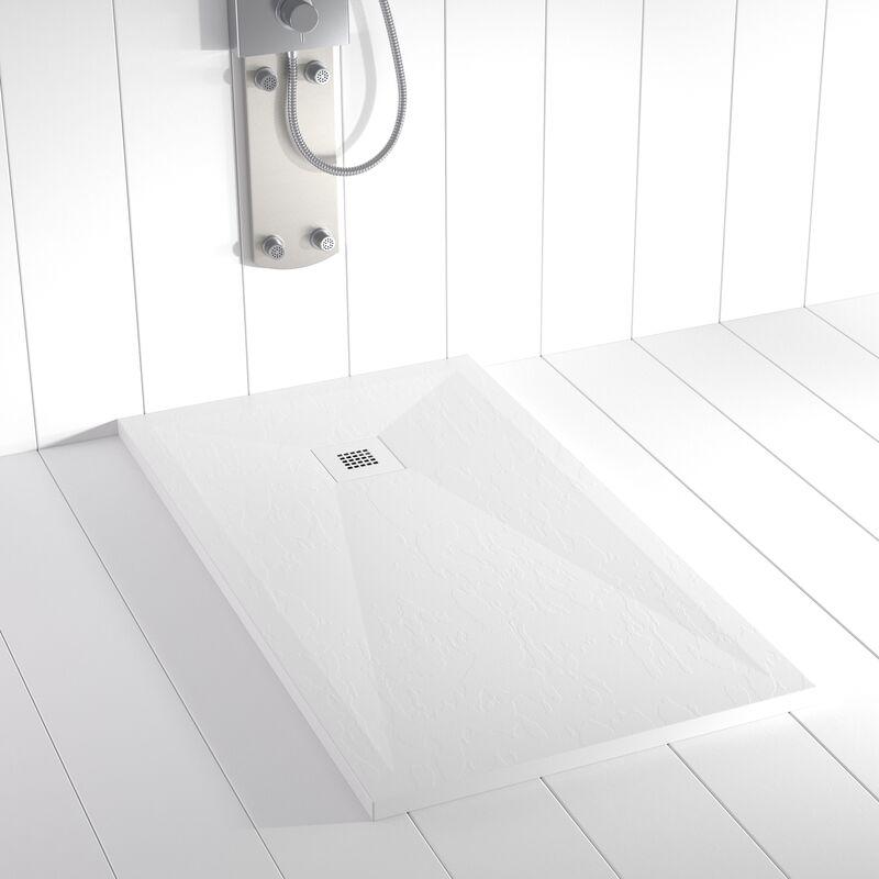 Plato de ducha Resina Stone PLES Blanco Ral 9003 rejilla en color - 100x140 cm - Blanco