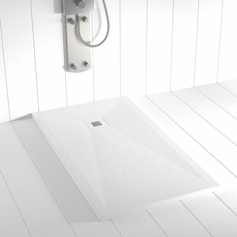 Plato de ducha Resina Stone PLES Blanco Ral 9003 rejilla en color - 100x200 cm - Blanco