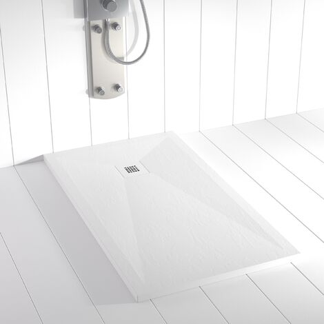 Plato de ducha Resina Stone PLES Blanco (rejilla en color) - 80x70 cm