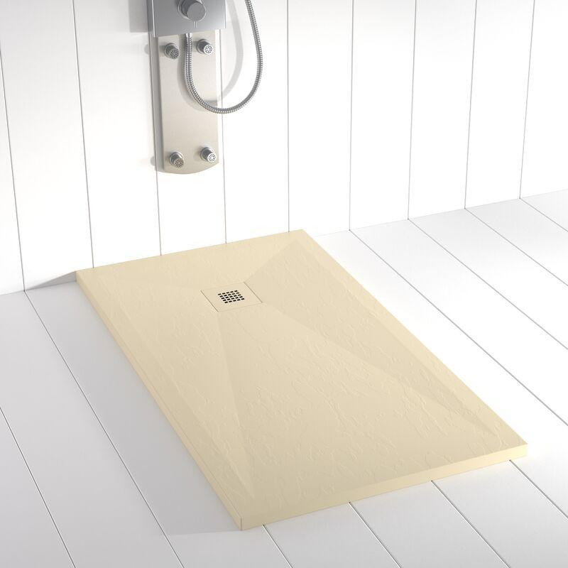 Plato de ducha Resina Stone PLES Crema rejilla en color - 100x190 cm - SHOWER ONLINE
