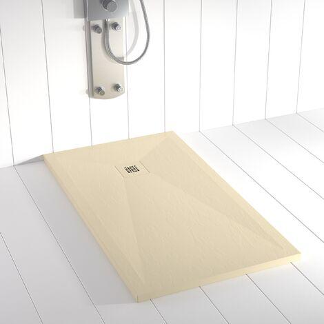 Plato de ducha Resina Stone PLES Crema (rejilla en color) - 100x70cm